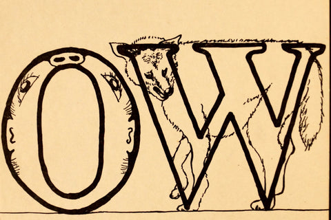 "Vintage ""OW"" Phonics Flashcard (c.1941) - ThirdShift Vintage"