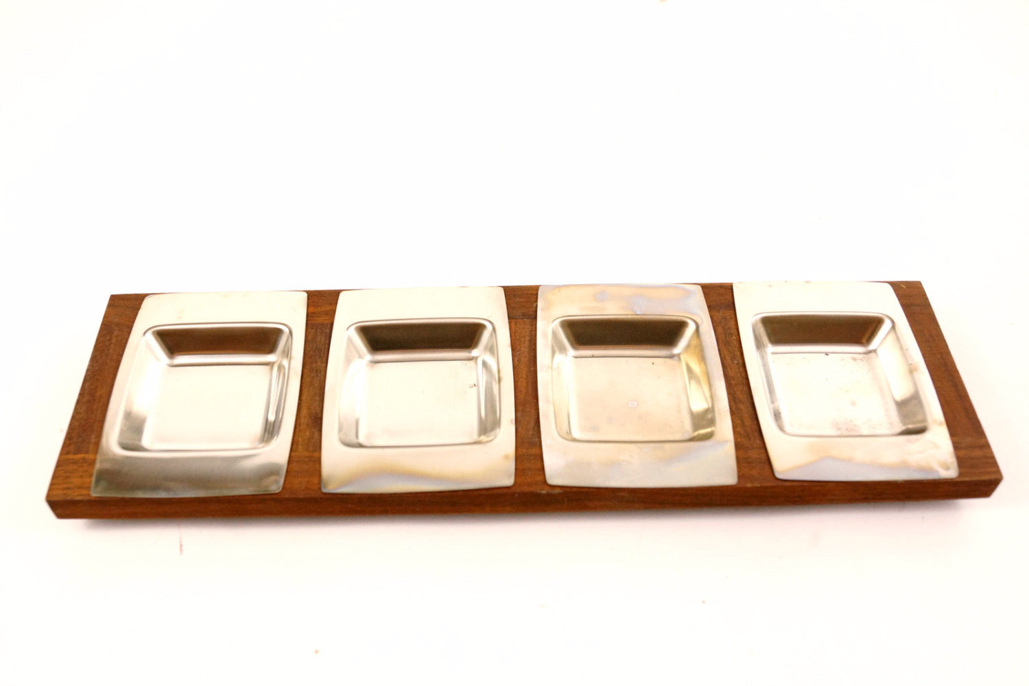 Vintage Stainless Steel And Wood Serving Tray Set, Condiment Or Relish Tray  (c.