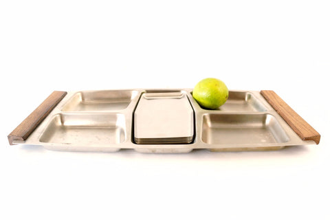 Vintage Stainless Steel and Wood Serving Snack Tray Set with 6 Metal Plates (c.1960s) - ThirdShift Vintage