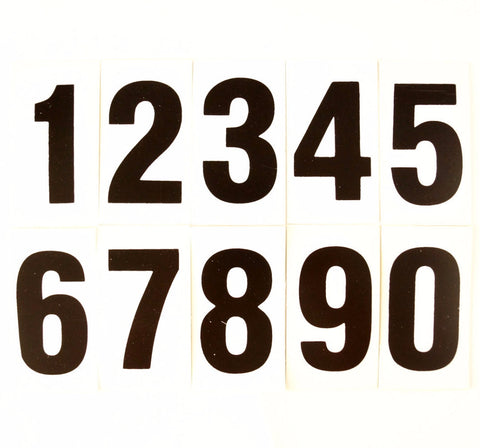 Vintage Double-Sided Gas Station Number Signs, Set of 10, 3.25 inches tall (c.1970s) - thirdshift