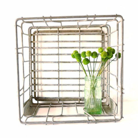 "Vintage Metal Dairy Crate / Wire Milk Crate Bottle Basket ""EWALD BROS, MINNEAPOLIS"" (c1968) - ThirdShiftVintage.com"