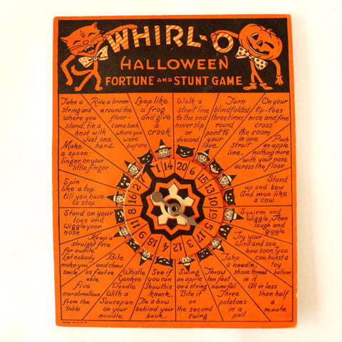 Vintage Whirl O Halloween Fortune and Stunt Game (c1949)