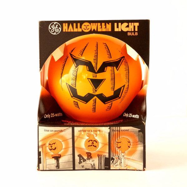 vintage halloween pumpkin face light bulb by ge in original box c1970s thirdshiftvintage