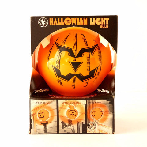 Vintage Halloween Pumpkin Face Light Bulb by GE in Original Box (c1970s) - thirdshift