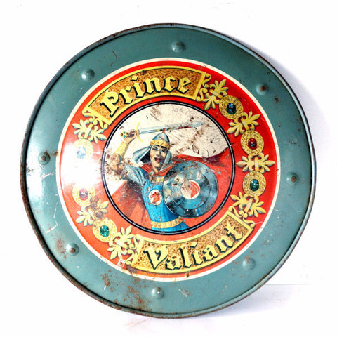 "Vintage ""Prince Valiant"" Metal Shield, Tin Lithograph by Mattel (c.1950s) - ThirdShift Vintage"