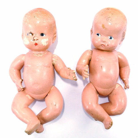 Vintage Composition Twin Baby Dolls, Molded Hair, Jointed Arms, Legs (c.1920s) - ThirdShiftVintage.com