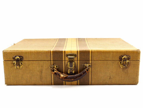 Vintage Striped Tweed Hardboard Suitcase with Handle and Keys (c.1920s) - ThirdShiftVintage.com