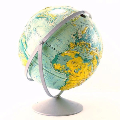 "Vintage Nystrom Sculptural Relief World Globe with Metal Stand, 16"" diameter (c.1991) - thirdshift"