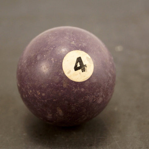 Vintage / Antique Clay Billiard Ball Purple Number 4, Standard Pool Ball Size (c.1910s) - ThirdShift Vintage