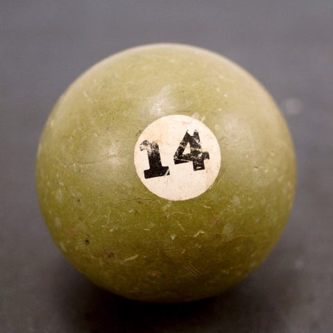 Vintage / Antique Clay Billiard Ball Green Number 14, Standard Pool Ball Size (c.1910s) - thirdshift