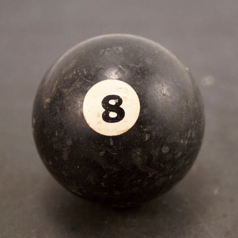Vintage / Antique Clay Billiard Ball Black Number 8, Standard Pool Ball Size (c.1910s) - ThirdShift Vintage