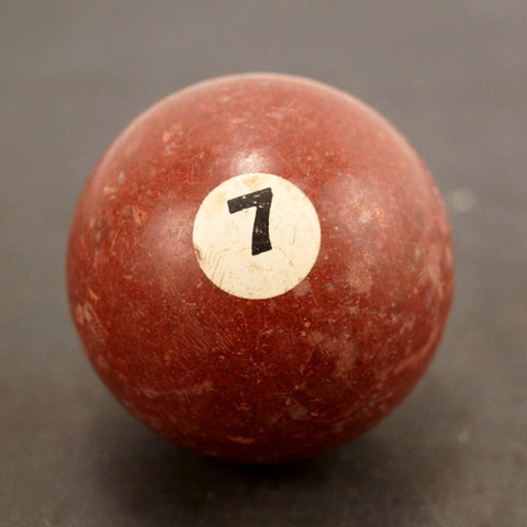 Vintage / Antique Clay Billiard Ball Burgundy Number 7, Standard Pool Ball Size (c.1910s) - ThirdShiftVintage.com