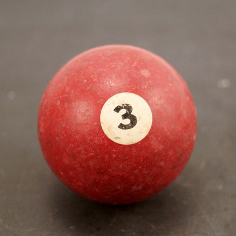 Vintage / Antique Clay Billiard Ball Red Number 3, Standard Pool Ball Size (c.1910s) - thirdshift