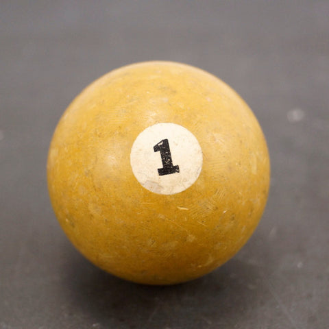 Vintage / Antique Clay Billiard Yellow Number 1, Standard Pool Ball Size (c.1910s) - ThirdShift Vintage