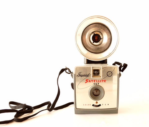 Vintage Imperial Satellite 127 3-Way Flash Camera in Original Box (c.1964)