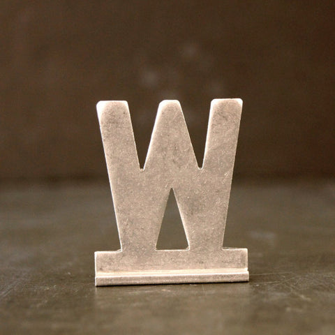 "Vintage Metal Sign Letter ""W"" with Base, 1-13/16 inches tall (c.1950s) - ThirdShift Vintage"
