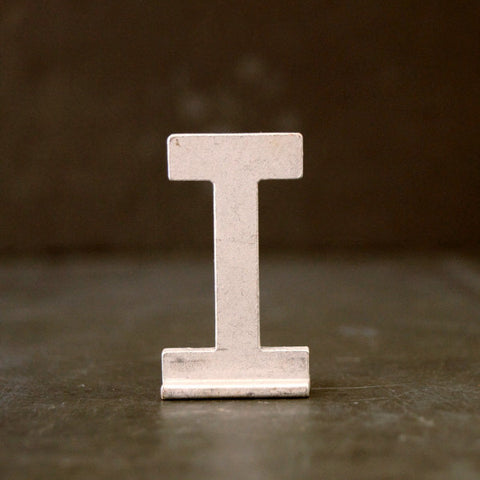 "Vintage Metal Sign Letter ""T"" with Base, 1-13/16 inches tall (c.1950s) - thirdshift"