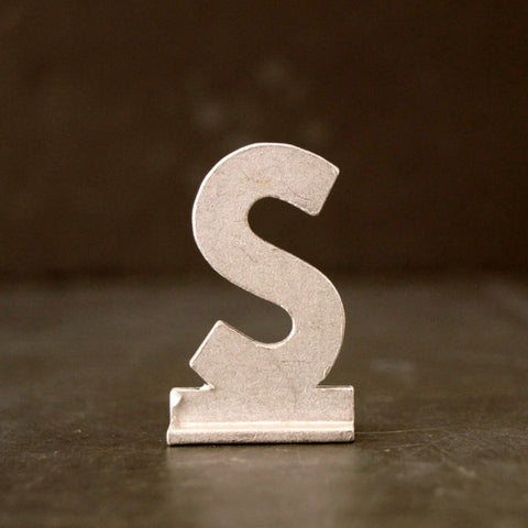 "Vintage Metal Sign Letter ""S"" with Base, 1-13/16 inches tall (c.1950s) - ThirdShift Vintage"