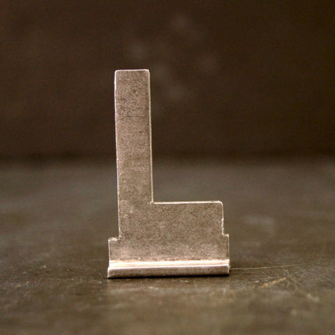 "Vintage Metal Sign Letter ""L"" with Base, 1-13/16 inches tall (c.1950s) - ThirdShift Vintage"