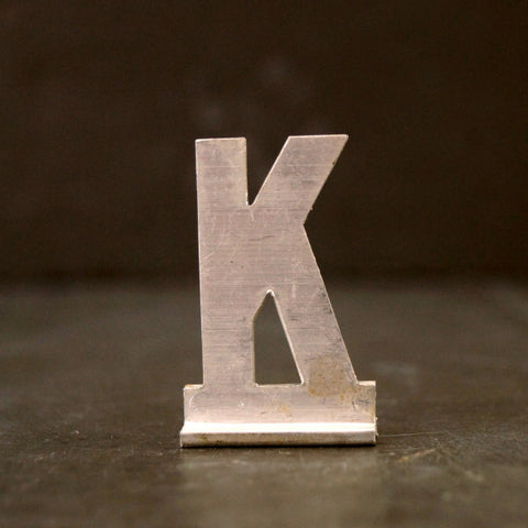 "Vintage Metal Sign Letter ""K"" with Base, 1-13/16 inches tall (c.1950s) - ThirdShiftVintage.com"