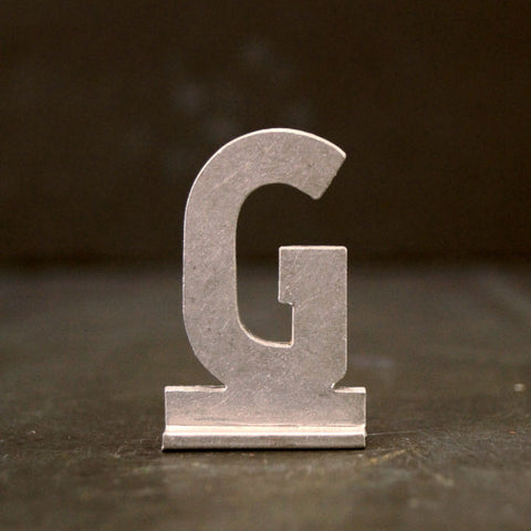 "Vintage Metal Sign Letter ""G"" with Base, 1-13/16 inches tall (c.1950s) - ThirdShiftVintage.com"