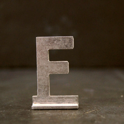 "Vintage Metal Sign Letter ""F"" with Base, 1-13/16 inches tall (c.1950s) - thirdshift"
