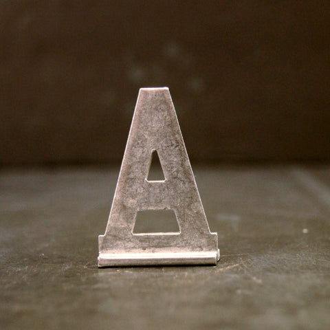 "Vintage Metal Sign Letter ""A"" with Base, 1-13/16 inches tall (c.1950s) - ThirdShift Vintage"