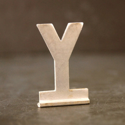 "Vintage Metal Sign Letter ""Y"" with Base, 1-13/16 inches tall (c.1950s) - ThirdShiftVintage.com"