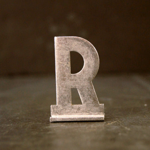 "Vintage Metal Sign Letter ""R"" with Base, 1-13/16 inches tall (c.1950s) - ThirdShift Vintage"