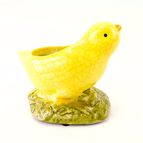 Vintage Chick Planter / Sponge Holder in Yellow Ceramic (c.1930s) - thirdshift