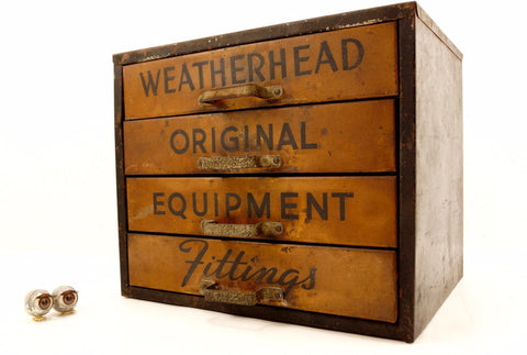 Vintage Weatherhead Original Equipment Fittings Hardware Cabinet (c.1940s) - ThirdShiftVintage.com