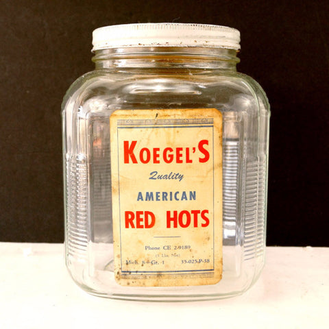 Vintage Koegel Meats American Red Hots Anchor Hocking Jar with Label, Lid (c.1930s) - thirdshift
