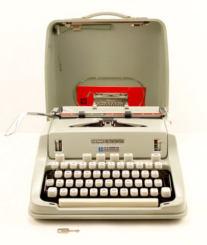 Vintage Hermes 3000 Portable Typewriter in Case with Manual  (c.1968)