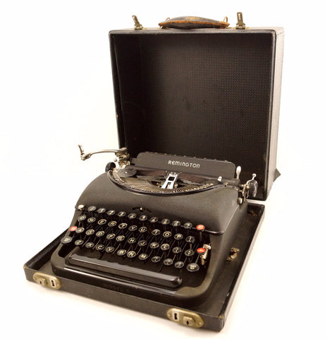 Vintage Remington Rand Model 5 Portable Typewriter with Red Key (c.1930s)