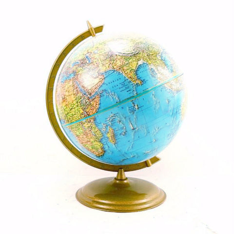 "Vintage Crams Enviro-Sphere World Globe with Bright Blue Oceans, 12"" diameter (c.1947) - ThirdShift Vintage"