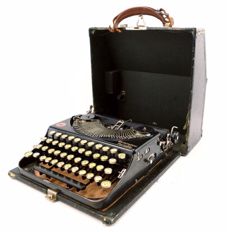 Vintage Remington Rand Portable Typewriter with Glass Keys (c.1920s)