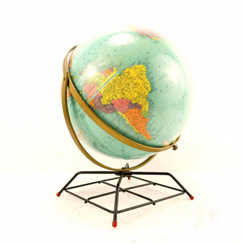 "Vintage Replogle Reference World Globe with Art Deco Wire Stand, 12"" diameter (c.1957) - ThirdShift Vintage"
