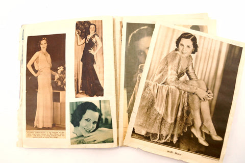 Vintage Scrapbook Notebook with Movie Star Photo Clippings (c.1920-30s)