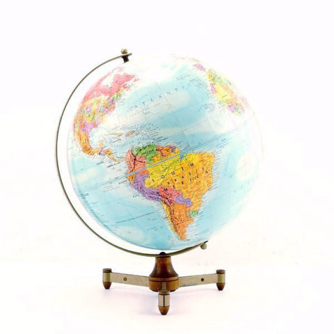 "Vintage Replogle Stereo Relief World Globe with Art Deco Tripod Stand, 12"" diameter (c.1949) - ThirdShift Vintage"