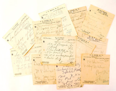 Vintage / Antique Handwritten Medical Prescriptions, Set of 12 (c.1900s) N4 - ThirdShiftVintage.com