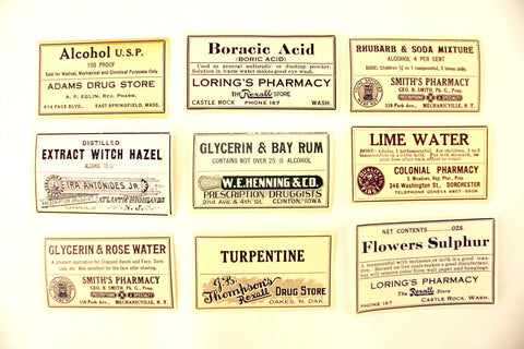Antique Medicine Apothecary Pharmacy Labels in Blue and White, Set of 9 (c.1890s) N1 - ThirdShiftVintage.com