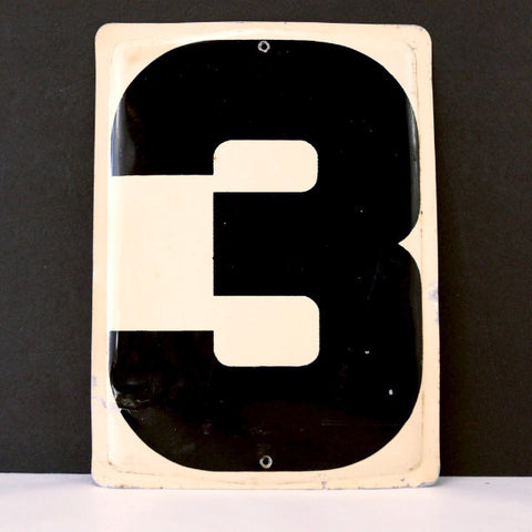 "Vintage Industrial Metal Number 3 Sign, Gas Station Sign in Ivory and Black, 13.5"" tall (c.1950s) - ThirdShiftVintage.com"