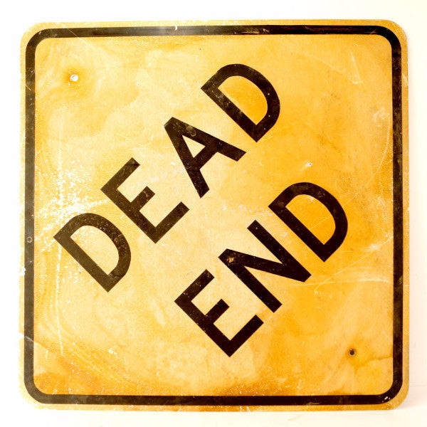 Square Tin Sign Dead End Yellow 30.5 x 30.5cm