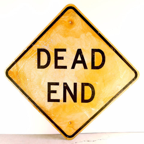 "Vintage Metal ""Dead End"" Sign in Yellow and Black, 30"" square (c.1970s) - ThirdShift Vintage"