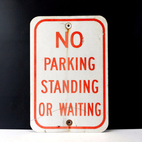 "Vintage Metal ""No Parking Standing or Waiting"" Sign in Red and White, 18"" tall (c.1970s) - thirdshift"