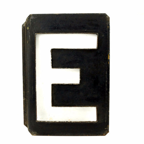 "Vintage Metal Letter ""E"" Moonglo Marquee Letter, 13"" tall (c.1900s) - ThirdShiftVintage.com"
