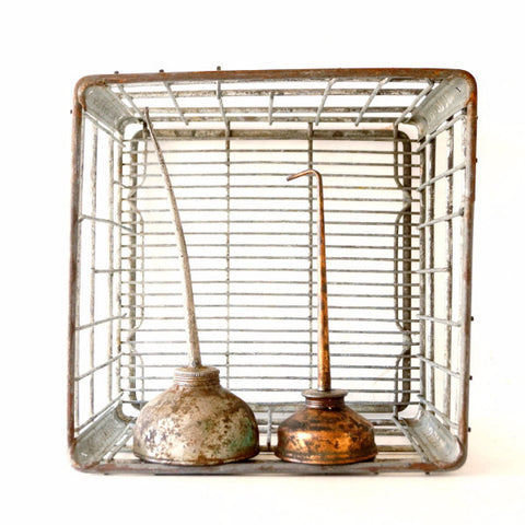 "Vintage Metal Dairy Crate / Wire Milk Crate Bottle Basket ""NORRIS CRY."" (c1968s) - ThirdShift Vintage"