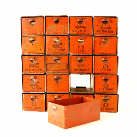 Vintage Dorman Parts Drawer Hardware Bin with 20 Drawers in Rustic Orange (c.1950s) N1 - ThirdShiftVintage.com