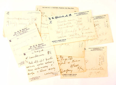 Vintage / Antique Handwritten Medical Prescriptions, Set of 9 (c.1901) N2 - Paper Ephemera, Collectibles, Medical Oddities - ThirdShift Vintage