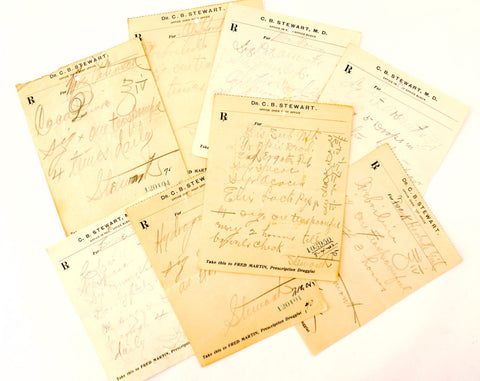 Vintage / Antique Handwritten Medical Prescriptions, Set of 8 (c.1901-02) N1 - ThirdShift Vintage